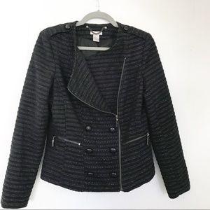 Cache | Black Sparkle Tweed Moto Jacket w/ Buttons
